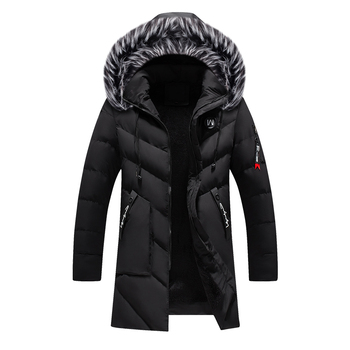 Loldeal Men's Fashion Winter Long Thick Puffer Jacket Coat Silm Fit with Hood