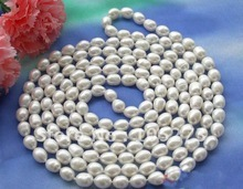 natural pearl jewelry 80Inchs Long Pearl Necklace AA 8-13MM White Color Rice Shaper Freshwater Pearl Cultured Bridal silver hook