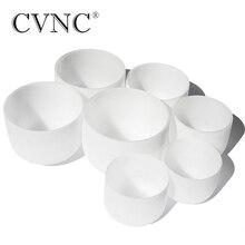 CVNC 10 -14 Note CDEFGAB  Chakra set of 7pcs Frosted Quartz Crystal Singing Bowls