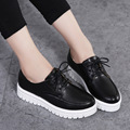 Women Flat Platform Shoes 2017 Brand Leather Lace Up Flats Shoes Woman Fashion Female Casual White Creepers Shoes Ladies 2538