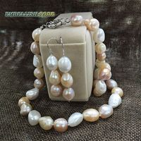 summer sheen semi baroque irregular necklace hook dangle earring set freshwater pearls Mixed color white pink purple stely