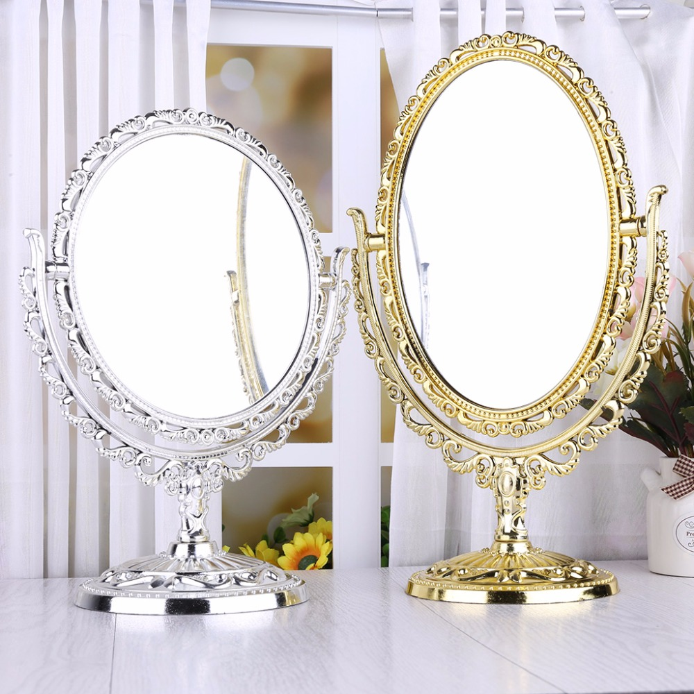 2 Sides Makeup Mirror Stand Table Cosmetic Mirror Plastic Dresser Mirrors Tools Ellipse /Circular Shape