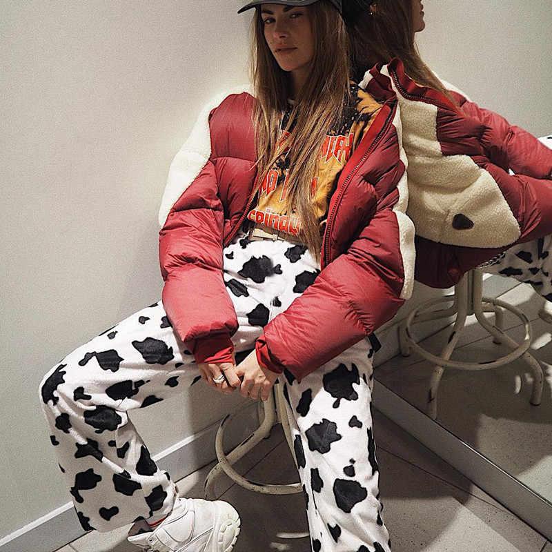 Rapwriter rahat elastik yüksek bel süt inek baskı pantolon kadın 2018 bahar düz gevşek moda pantolon Pantalon Femme pantolon