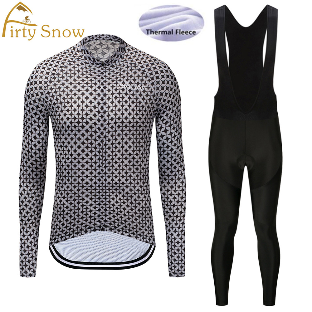 Firty Snow 2018 New arrival Winter Thermal Fleece mavic Cycling Jersey Long Sleeve Bib Pants Set Bike Bicycle Outdoor&Sports-015