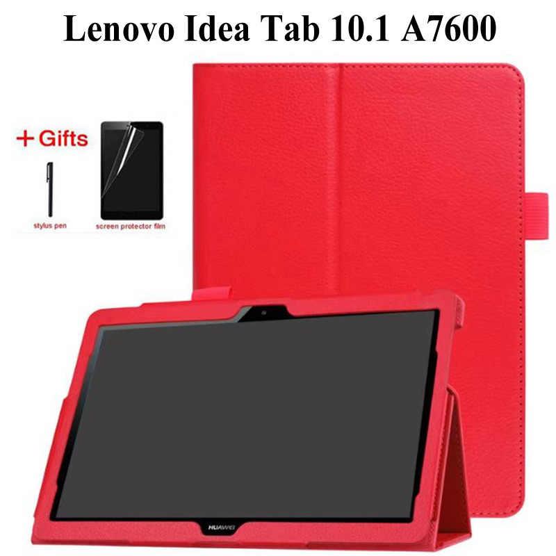 Litchi standı PU Deri Kılıf Lenovo Idea Tab 10.1 A10-70 A7600 A7600-h A7600-f 10.1 inç tablet kılıfı + Film + kalem