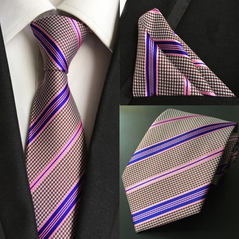 T115 men silk ties /& handkerchief pocket square Tie set orange green patterns