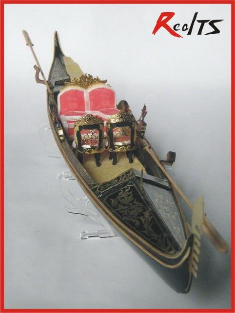 Montowane RealTS klasyczne wenecja jachtu model skala 1/20 ślub Gondola model drewniany zestaw gondola randki łodzi w Zestawy modelarskie od Zabawki i hobby na  Grupa 1