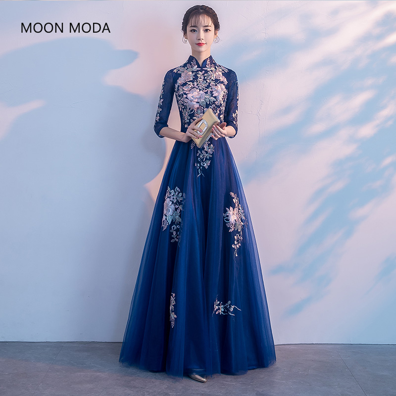 MOON MODA Evening Dresses Long 2019 Sleeve Formal Gowns Women Dresses Blue Long Dress Vestido Longo Vestidos De Festa Ball Gown