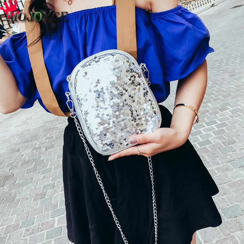 Simple Women Sequins Crossbody Bags Street Glitter Mini Shoulder Bags  Fashion Girls Party Zipper Chain Messenger 840b31840bb9