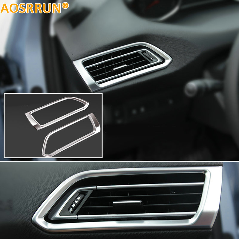 AOSRRUN Car Accessories LR Air-conditioning Outlet Cover ABS Chrome Plate For Peugeot 308 T9 SW Rear View 5door 2015 2016