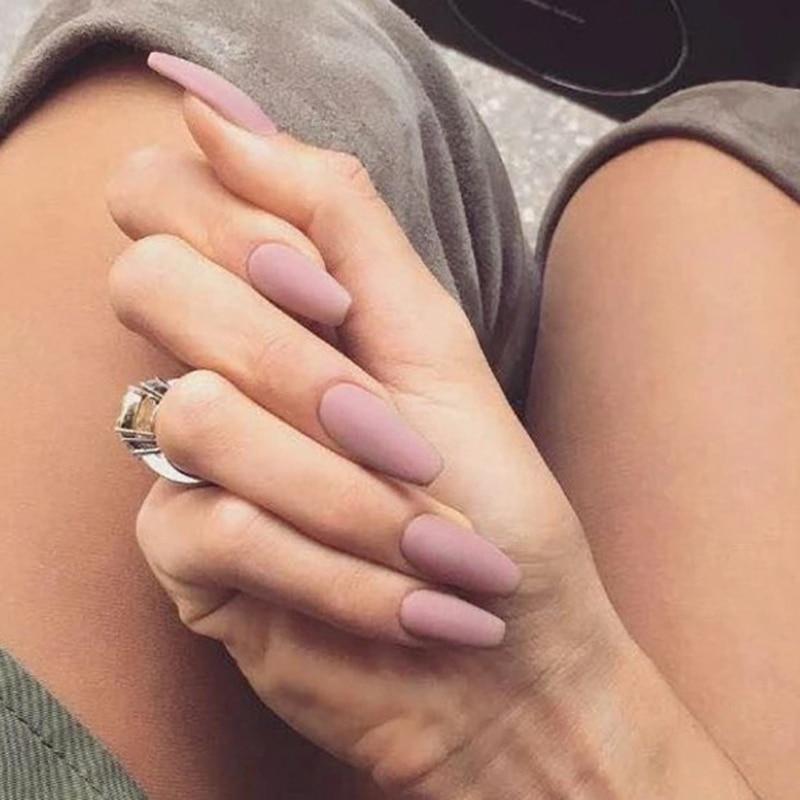 Matte Pink gray Finish Coffin Shape False nails.Middle-long  lady full nail tips Ballerinas Frosted bride fake nail 24pcs/set craft
