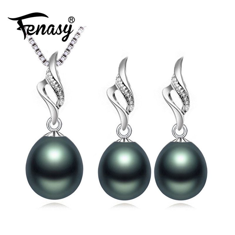 FENASY Jewelry-Sets Pearl Earrings Necklace Pendant Wedding 925-Sterling-Silver Natural