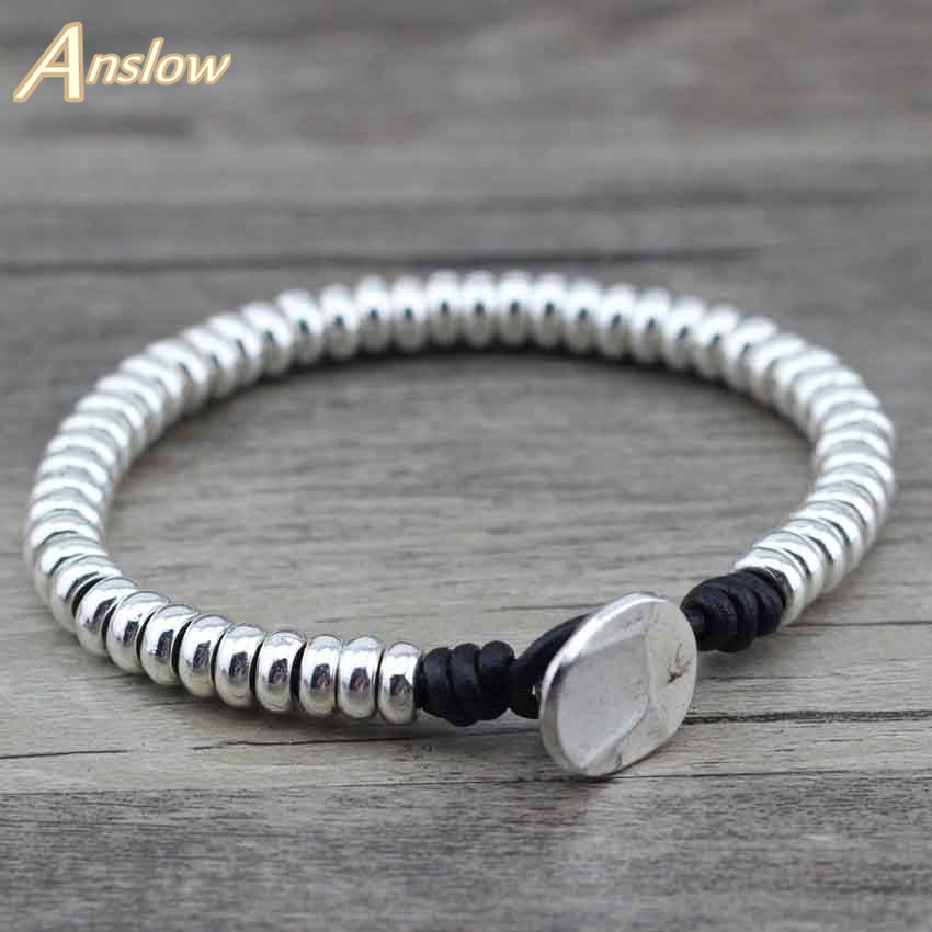 Anslow 2017 New Arrivals Designer Items Handmade Zinc Alloy Beads Genuine Leather Bracelet For Women Men Kids Gift LOW0376LB vintage alloy engraved beads anklet for women