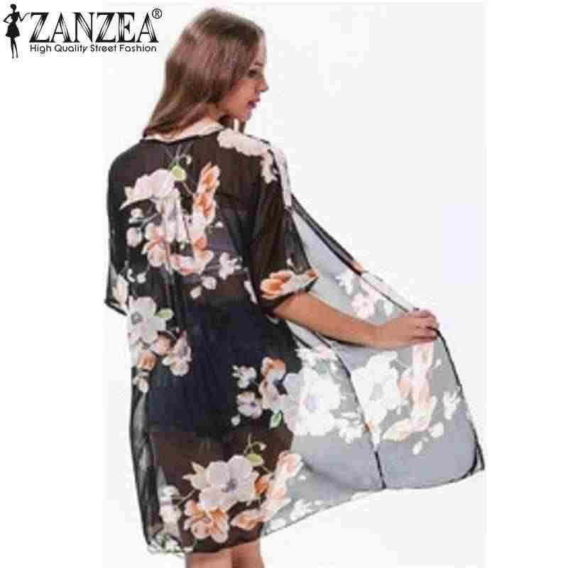 Цветочный принт кимоно кардиган 2019 летние женские удобные свободные блузки шифоновая блузка Рубашки Длинная Верхняя одежда плюс размер S-5XL