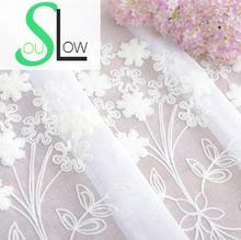 Lento Soul Blanco Flores Cortina Ventanas de los Dormitorios Bordado Coreano Pastoral Floral Sheer Cortinas de Tul Para la Sala de Cocina