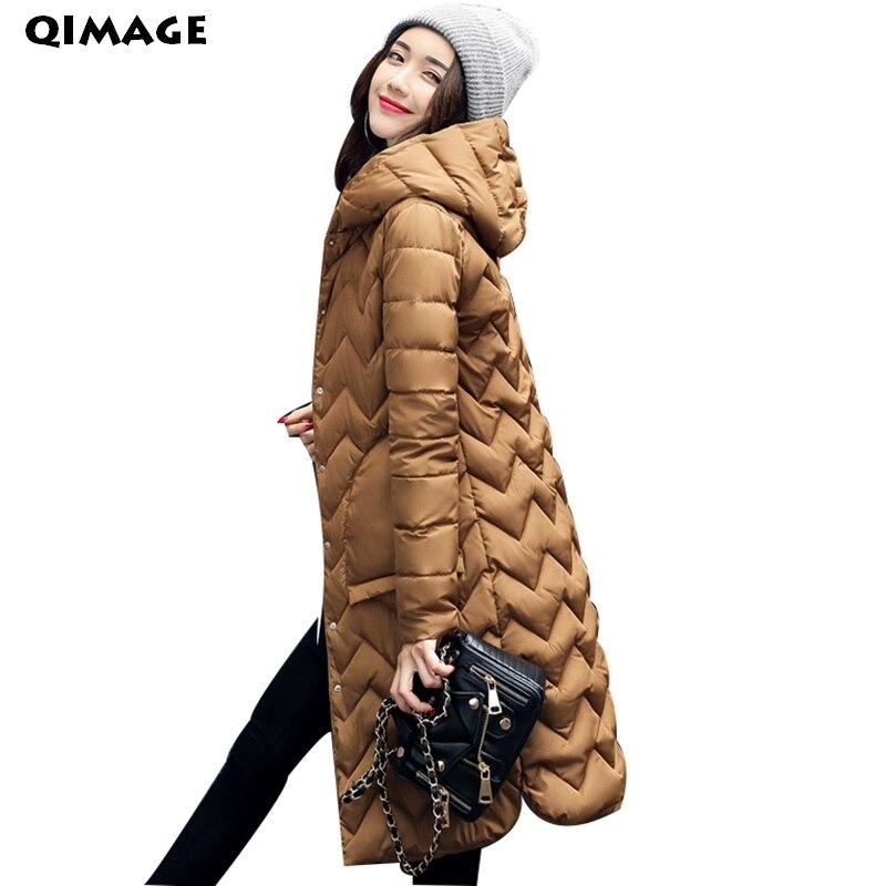 QIMAGEWinter Jacket Coat Women Long Cotton Down   Parkas   2017Lady Slim Hooded   Parkas   Jacket Winter Outwear Female   Parkas   Plus size
