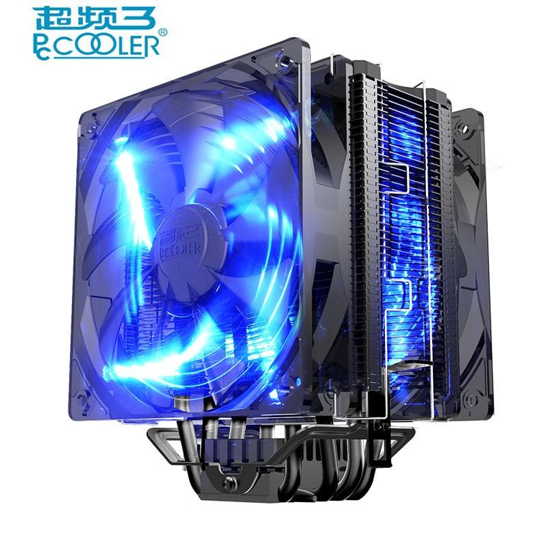 все цены на  Pccooler x6 CPU cooler 5 heatpipes 12cm fan 4pin PWM led quiet  for intel 775 115x 2011 AMD am3 FM2 AM4 cpu cooling radiator fan  онлайн