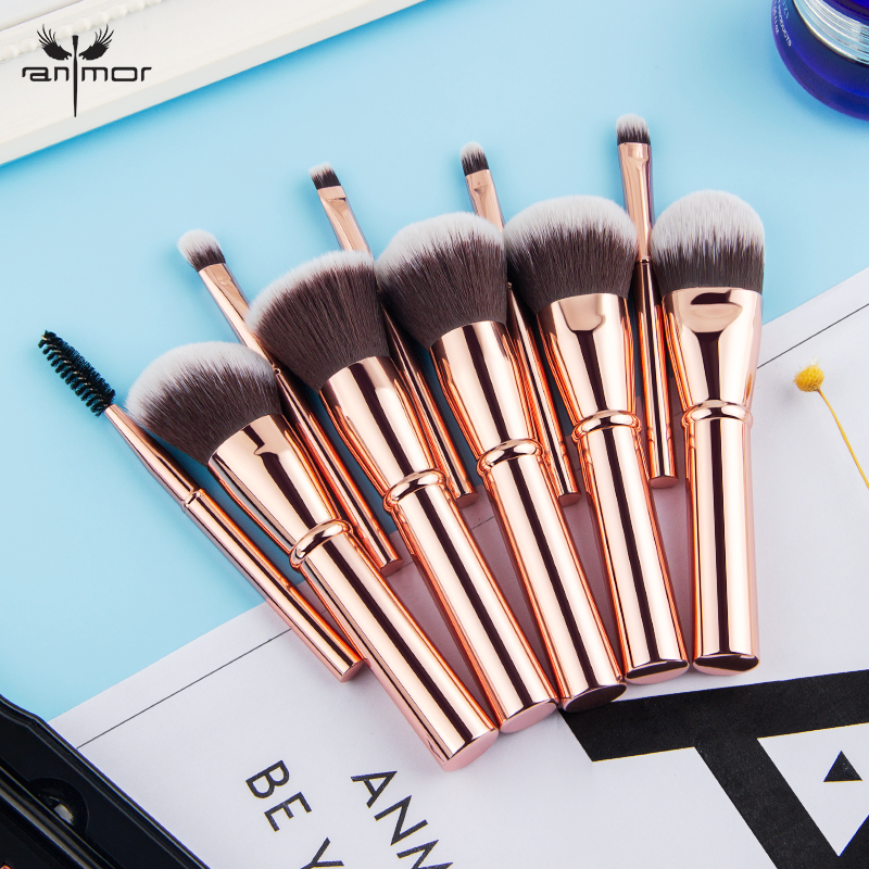 Anmor Mini Size Make Up Brushes Set 10 Pieces Travel Makeup Brushes Kit Synthetic Hair Foundation Powder Blush Brush недорго, оригинальная цена