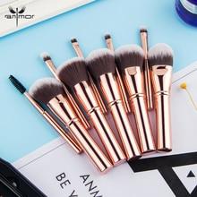 Anmor Mini Size Make Up Brushes Set 10 Pieces Travel Makeup Brushes Kit Synthetic Hair Foundation Powder Blush Brush