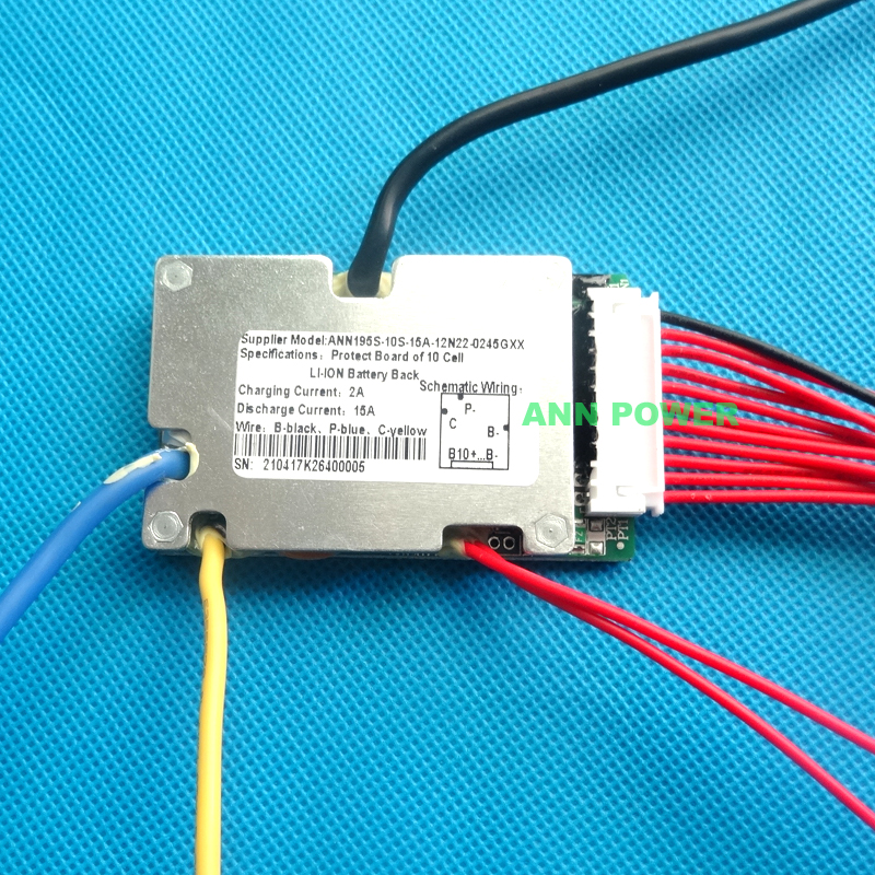 Image 3 - Free Shipping 36V lithium ion battery protection circuit 10S 36V/37V 15A BMS ON/OFF switch wires and small size L65*W40mm36v lithium ion battery36v battery lithiumbms battery - AliExpress
