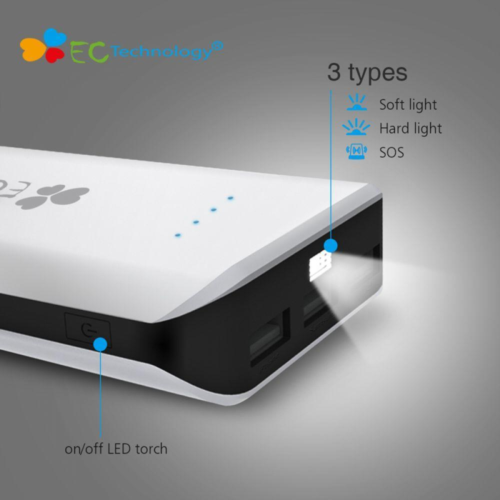 EC Technology 18650 Power Bank 30000mah Large Capacity Powerbank Portable iPhoneXiaomi Charger Batterie Externe With LED Light usb battery bank charger
