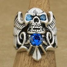 925 Sterling Silber Teufel Flügel Schädel CZ Augen Herren Biker Rocker Punk Ring 9MX13 UNS Größe 7 ~ 13
