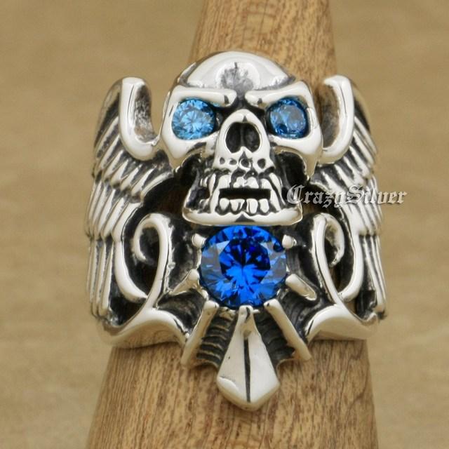 925 Sterling Silver Devil Wing Skull CZ Eyes Mens Biker Rocker Punk Ring 9M113 US Size 7~13