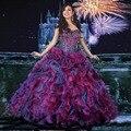2017 Multi-Cor Vestido De Baile 16 Anos Quinceanera Dresses Querida Cristal Ruffle Organza 15 Ano de Aniversário Vestido de Baile CR-121