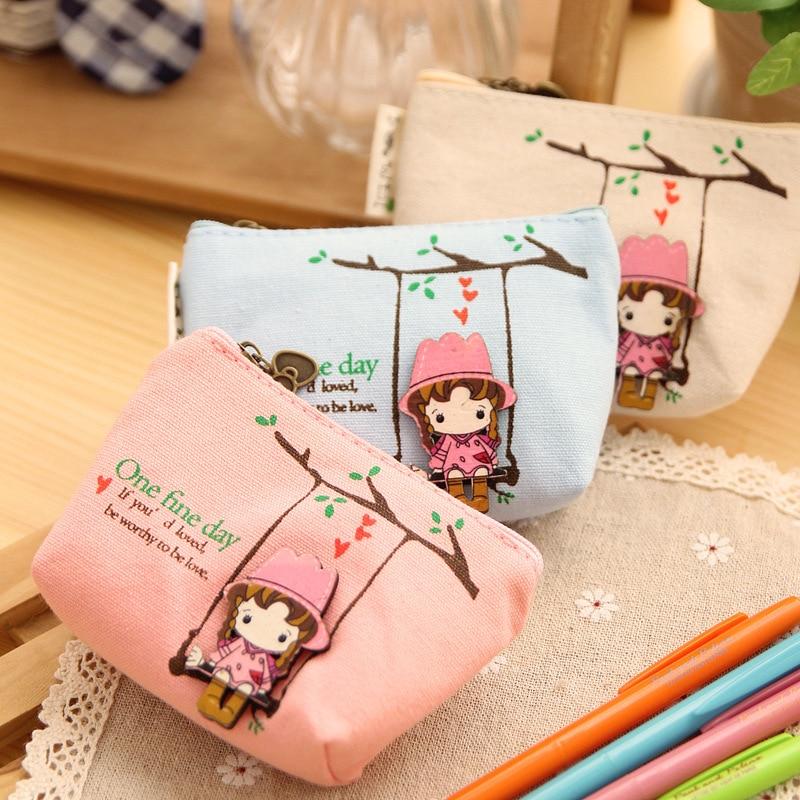 20 PCS Korean Candy Colored Girls Canvas Coin Bags Women Key Wallets Cute Cartoon Cartoon Mini Coin Purse