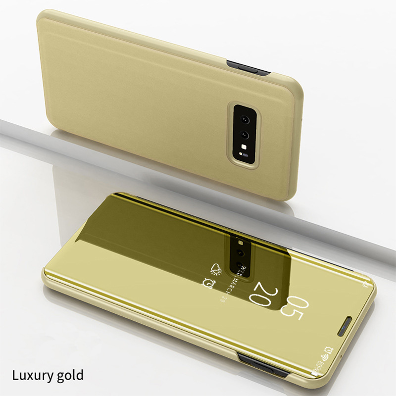 Clear View Mirror Standing Flip Phone Cover Case For Samsung Galaxy S10 S10 Plus S10e