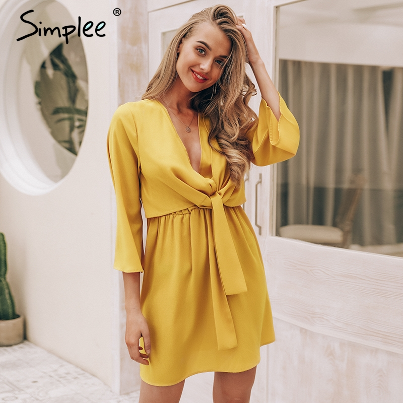 Simplee Vintage Long Sleeve Chiffon Summer Dress Women Black Bow Office Bandage Dresses Sexy Red Female Ladies Short Dress Festa