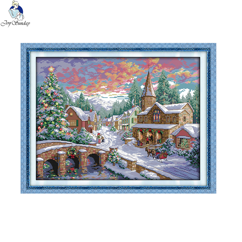 Joy Sunday Snowscape 14CT 11CT Hand Made Cross Stitch Kits Snow Scenery Crafts Needlework Embroidery Cross Stitch Set Home Decor in Package from Home Garden