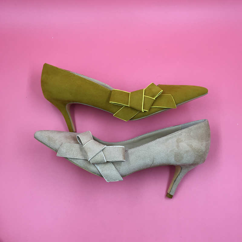 Bas Femmes Chaussures Bowknot sur Pompe Côté Ol Jaune Pompes Suédé Photo Picture Printemps Style Talon Slip Bout Réel Cuir Dames Pointu 6IqwIxBg4E