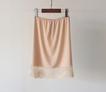 2019 Sexy podkoszulek elastyczna talia halka bezpieczeństwo kobiet spódnica koronki pół poślizgu moda bielizna Intimates 42 cm lato zrazy