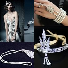 The Great Gatsby Set DAISY Crystals Pearl Tassels Hair Hoop Headband, Fashion Hair jewelry Christmas gifts,Wedding Bridal Tiara(China)