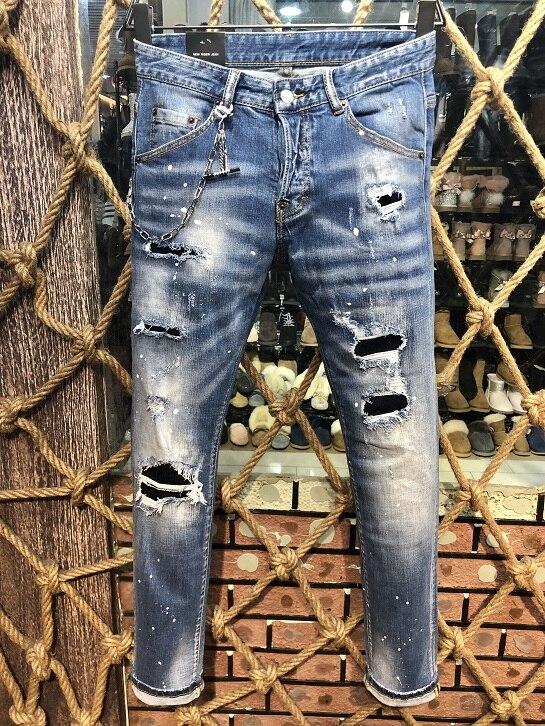 Nouveaux hommes Jeans déchiré pour hommes Skinny DSQ Jeans pantalons hommes Jeans vêtement d'extérieur à glissière homme pantalon J9506-in Jeans from Vêtements homme    1