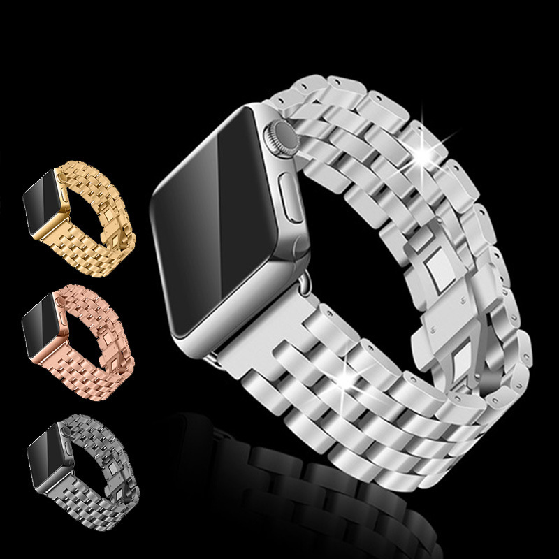 Stainless Steel Watch Strap Bracelet For Apple Watch Band Iwatch Link Silver Rose Gold Black Watchbands 42mm 38mm With Adapter solid scrub stainless steel brushed black gold silver rose gold finished watch band clasp buckle watchbands 16 18 20mm 24mm 26mm