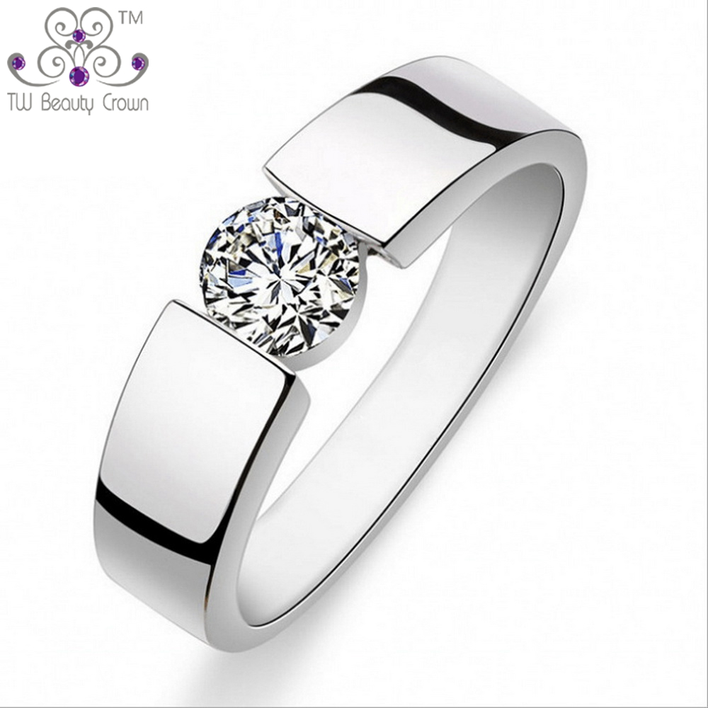 1 Pc Top Quality Real 925 Sterling Silver Simple Aaa White Cubic Zirconia  Unisex Men Male Engagement Ring