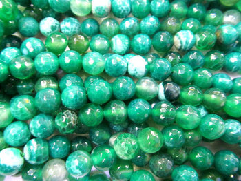 wholesale discount 6-16mm full strand natural agate bead round ball craked faceted pink yellow green mixed connector beads image
