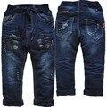 3992 регулярные джинсы мальчик зима теплая denim и флис мальчики джинсы брюки повседневные брюки детские брюки темно-синий Двойной слой толщиной