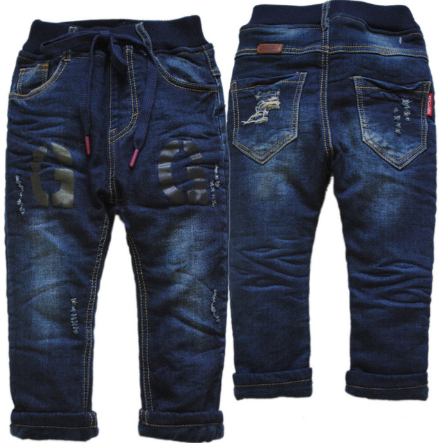 69a8a3ea1140 3992 regular jeans boy winter warm denim and fleece boys jeans pants ...