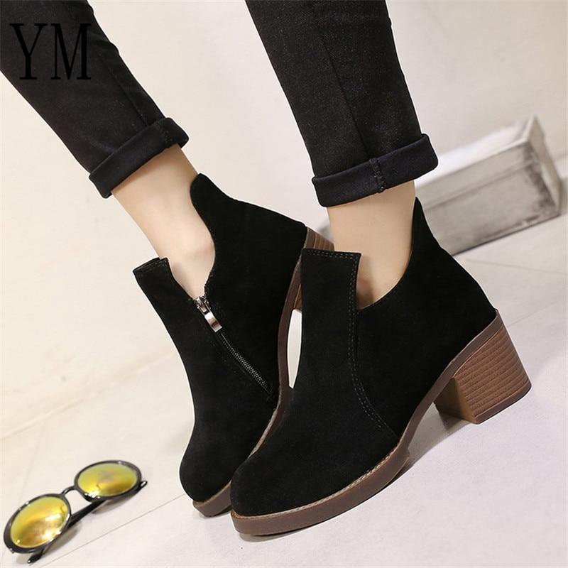 Hot Sale Autumn/Winter Women Boots Thick Heel Leather Female Side Zipper Shoes Vintage Fashion Ankle Boots Women Shoes Bota35-39 4