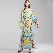 23bcda71eb5b Women Runway Dresses Spring 2019 Hot Sale Fashion Flowes Print Ankle-Length  Belt Elegant Long