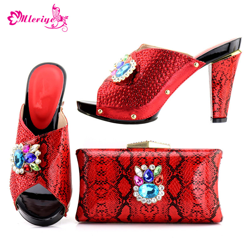 New Arrival Women Italian African Party Pumps Shoes and Bag Set Decorated with Rhinestone African Italian Shoes and Bag Set hot artist new arrival african rhinestone shoes and bag set italian woman heels shoes with bag set for party size 37 43 yh 04