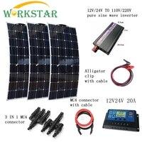 3*100 Вт гибкие Панели солнечные Зарядное устройство + ПИК 1000 Вт Инвертор + 10A контроллер с разъемами и кабели Houseuse 300 Вт Солнечный Системы компл