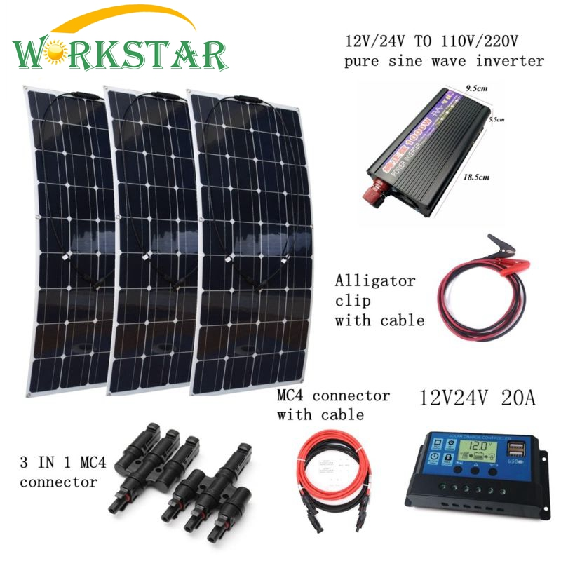 3*100W Flexible Solar Panel Charger+Peak 1000W Inverter+10A Controller with Connectors and Cables Houseuse 300W Solar System Kit 4pcs 100w flexible solar panel with mppt 30a controller and mc4 y connectors for 12v battery solar charger houseuse solar kit