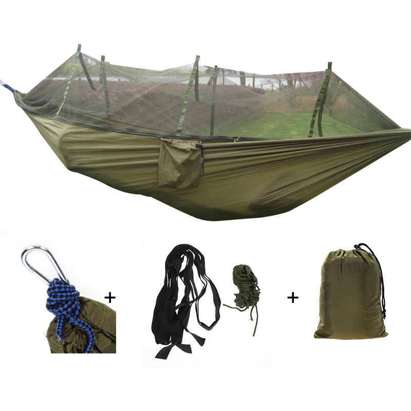 Portable Mosquito Net Camping Hammock Outdoor Garden Travel Swing Parachute Fabric Hang Bed Hammock 260*130cm Drop ShippingPortable Mosquito Net Camping Hammock Outdoor Garden Travel Swing Parachute Fabric Hang Bed Hammock 260*130cm Drop Shipping