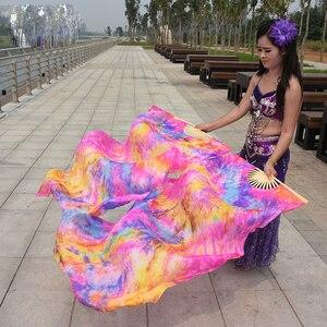 Image 3 - צבוע 100% טהור טבעי משי מאוורר רעלות לנשים בטן ריקוד ביצועים מאוורר ריקוד תחפושות ואבזרים זוג