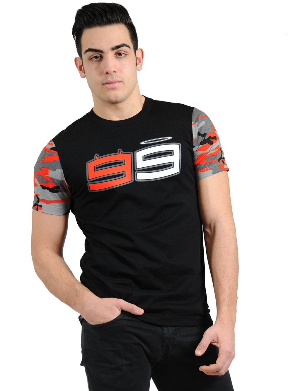 O envio gratuito de 2018 jorge lorenzo 99 camuflagem camiseta motocicleta moto gp fã esportes bicicleta corrida tshirt camisa
