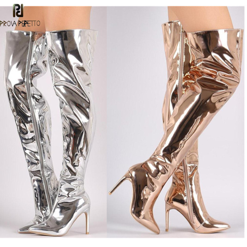 Prova Perfetto Hot Sale Women Sexy Metallic leather Plush Long Boots High Heels Over The Boots Point Toe Stiletto Heels Size 44Prova Perfetto Hot Sale Women Sexy Metallic leather Plush Long Boots High Heels Over The Boots Point Toe Stiletto Heels Size 44